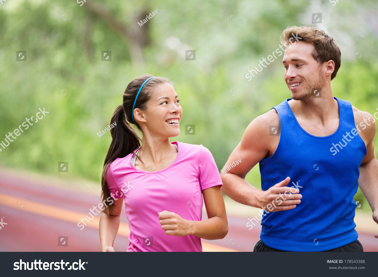 Healthy Lifestyle Running Fitness Couple Jogging Stock Photo