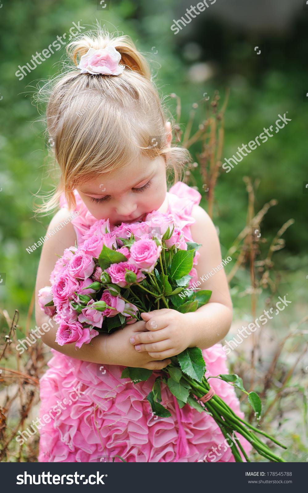 Little Toddler Lovely Girl Flowers Pink Stock Photo Edit Now