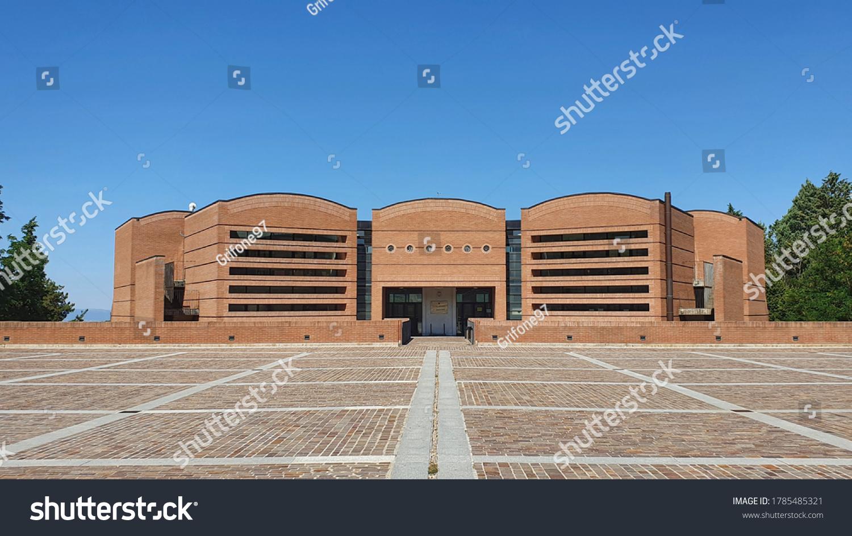 """Città della Pieve, Italia - July 28 2020: Liceo scientifico """"Italo Calvino"""" progected by the architect Mario Botta"""