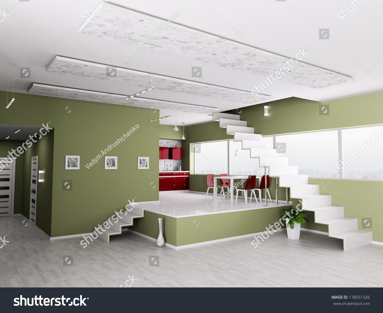 Interior Of Modern Apartment Hall Kitchen 3d Render