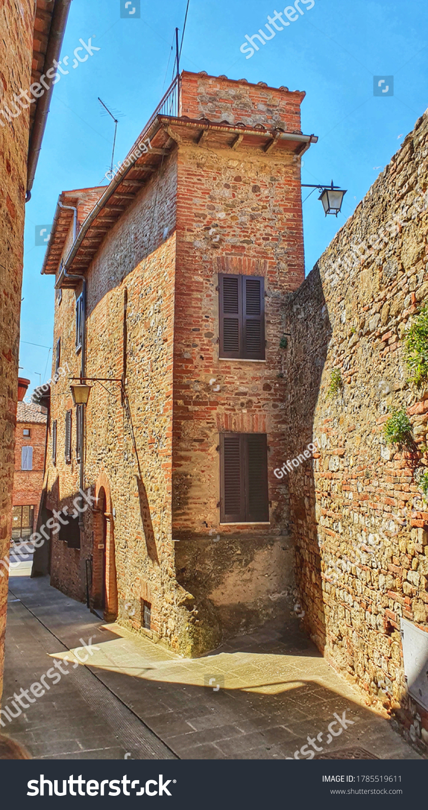 Strange house in an alley of the Medieval Town of Città della Pieve, Umbria, Italy.