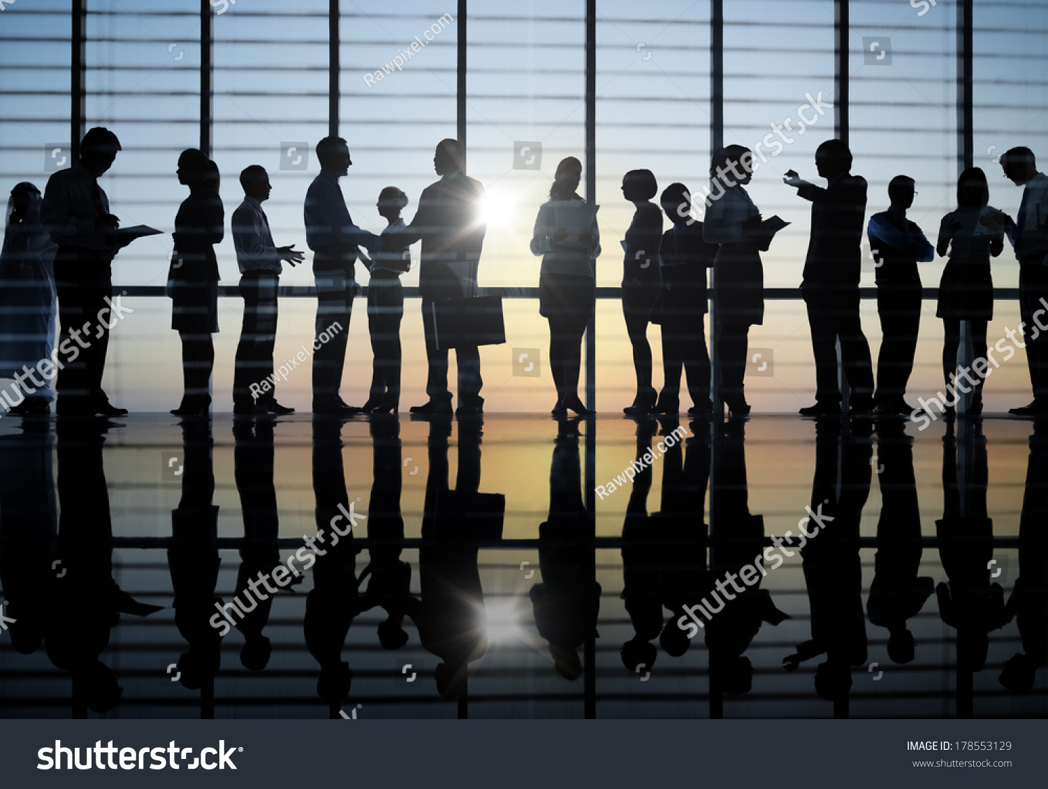 Silhouette Group Business People Meeting Stock Photo ...
