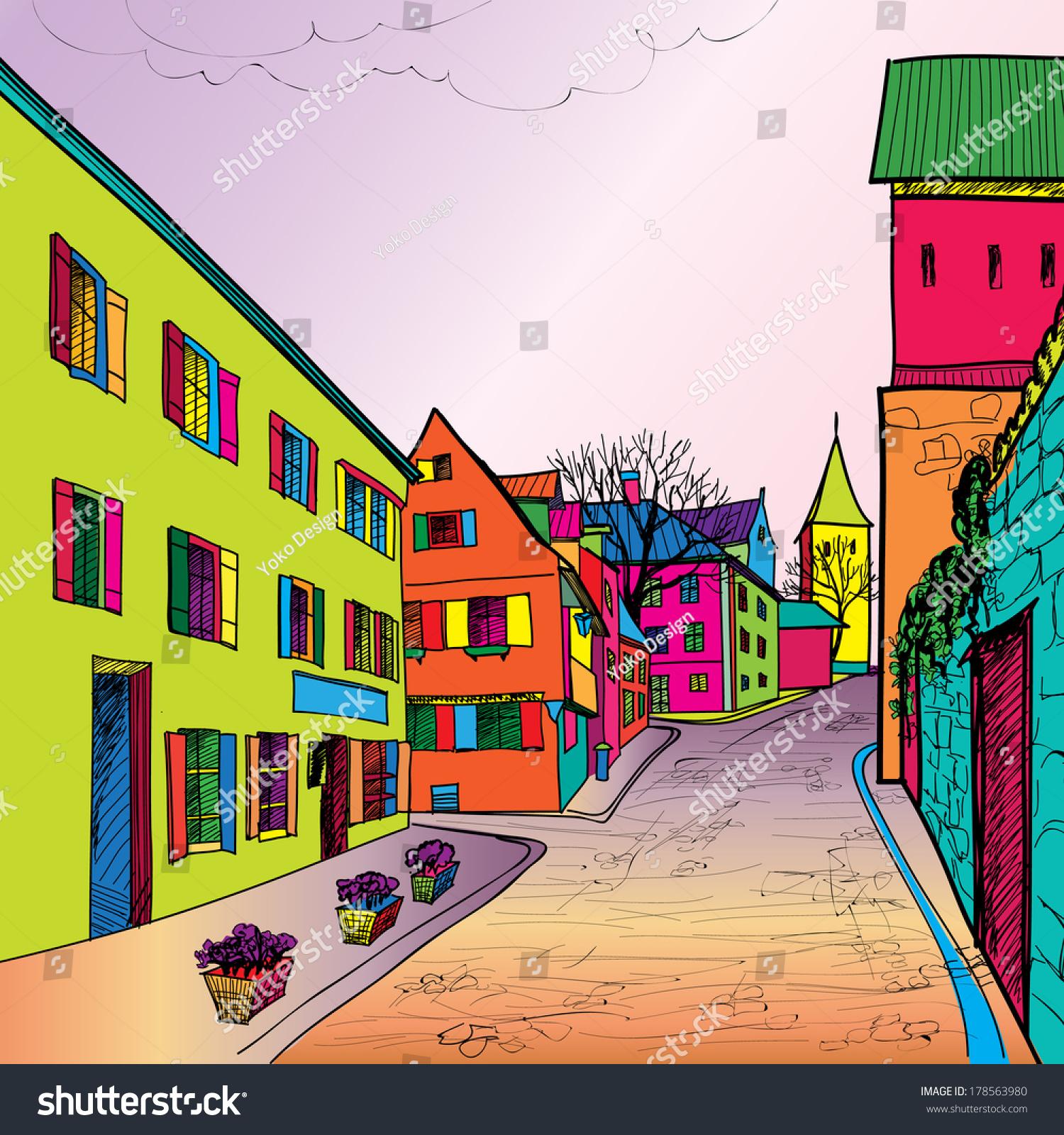 Travel postcard in 1960s pop art style pedestrian street for Funky house artists