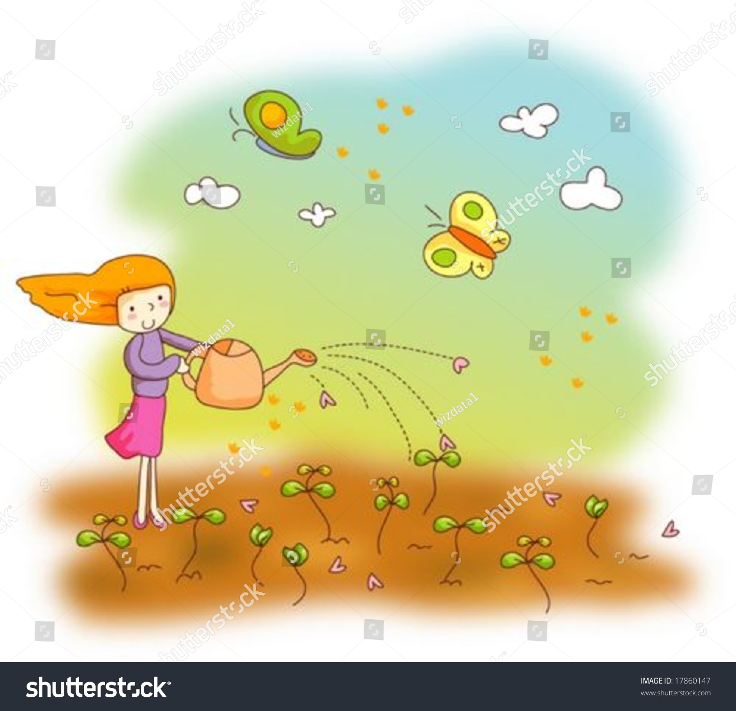 Flower garden sketch - Animation Sketch With Sweet Dream Watering Sprouts With A Smiling Young Female In Flower Garden