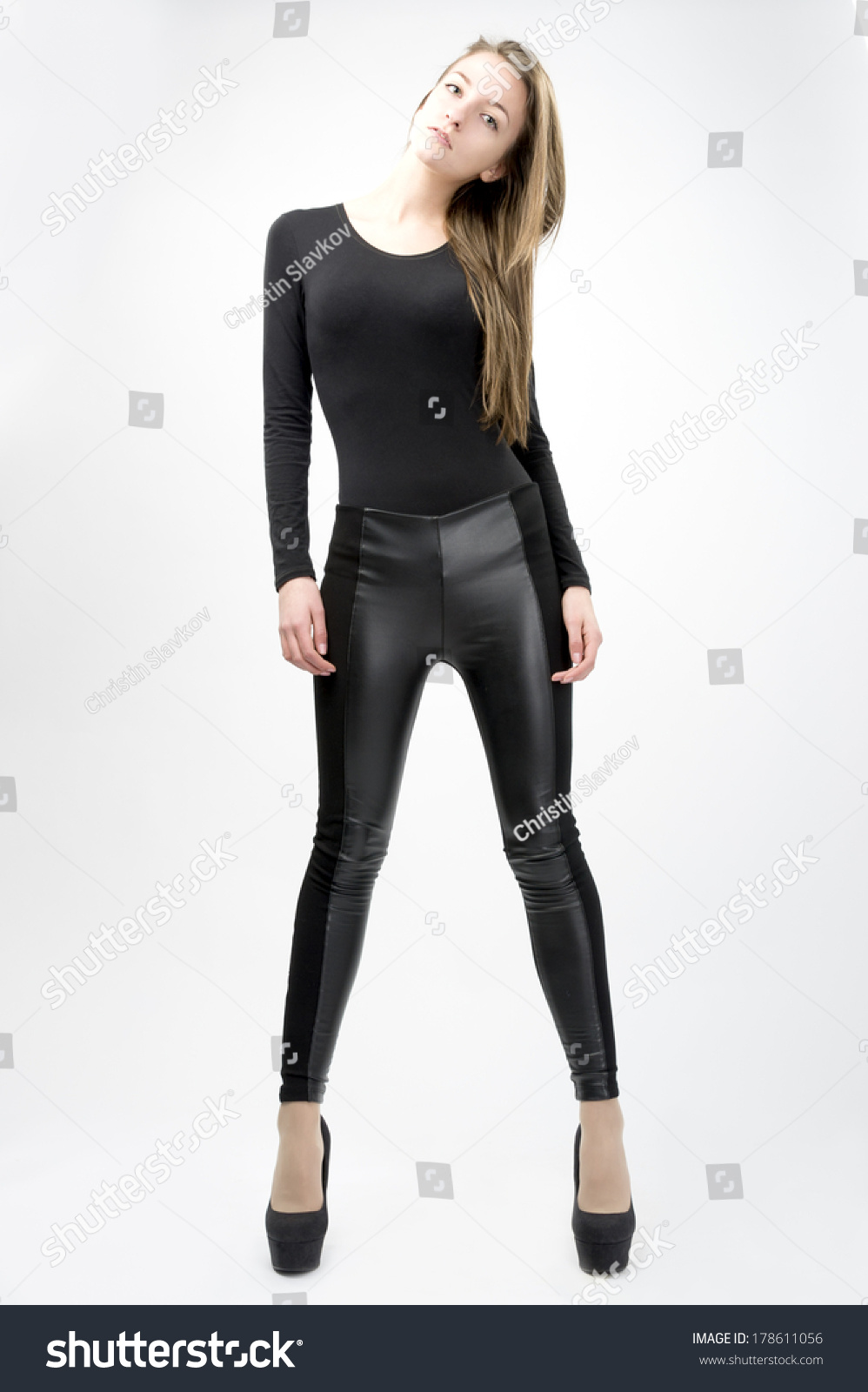 Female Fashion Model Wearing Tight Black Stock Photo 178611056 ...