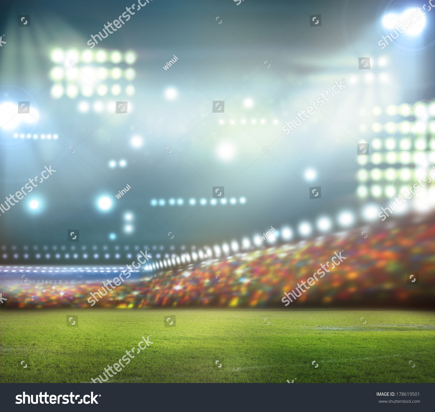 Football Stadium Night Lights: Stadium Lights Night Stadium Stock Illustration 178619501