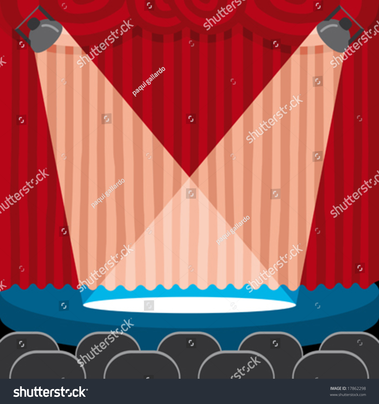 Red stage curtain with lights - A Red Theatre Curtain With Light On The Scene Stock Vector Illustration 17862298 Shutterstock