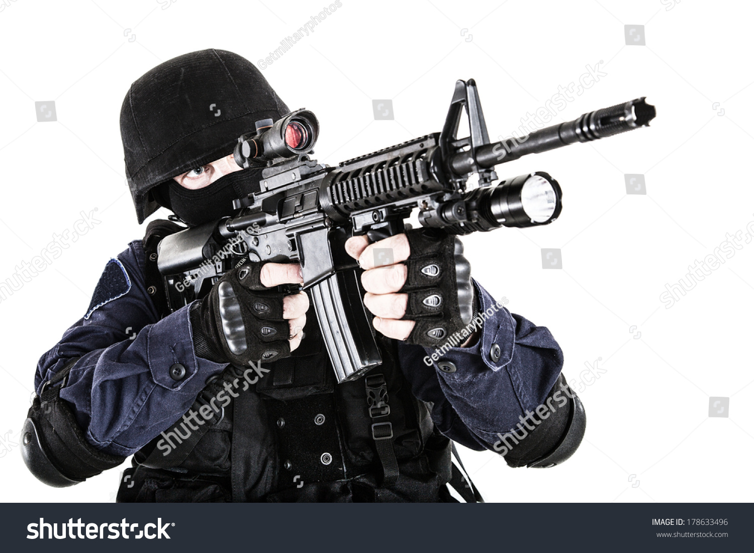 Special Weapons Tactics Swat Team Officer Stock Photo Royalty Free