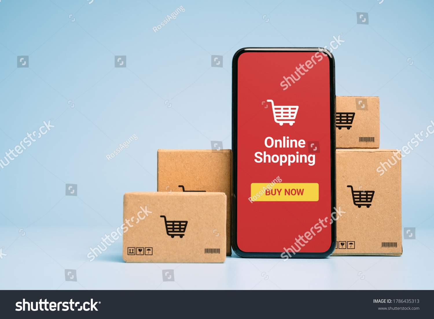 Concept online Sopping. boxes and shopping bag with Smartphone Online Shopping screen. #1786435313