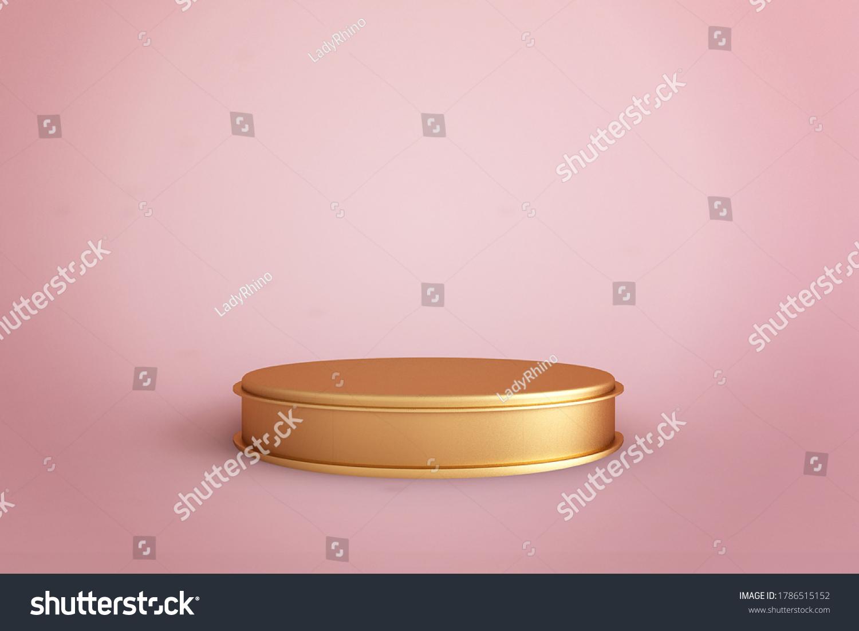 stock-photo-golden-cylinder-showcase-or-