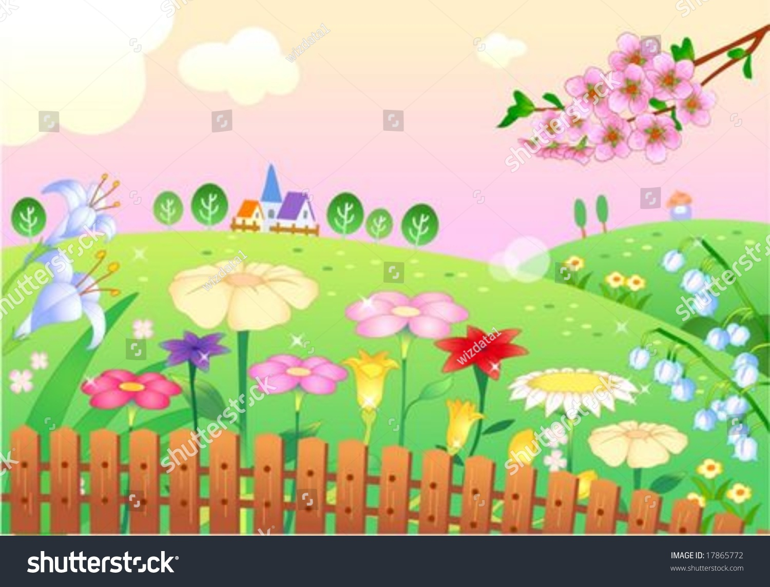 Beautiful garden cartoon - Beautiful Garden Cartoon Beautiful Landscape Rural Flower Garden With Pretty Pink Sky And Green Grass