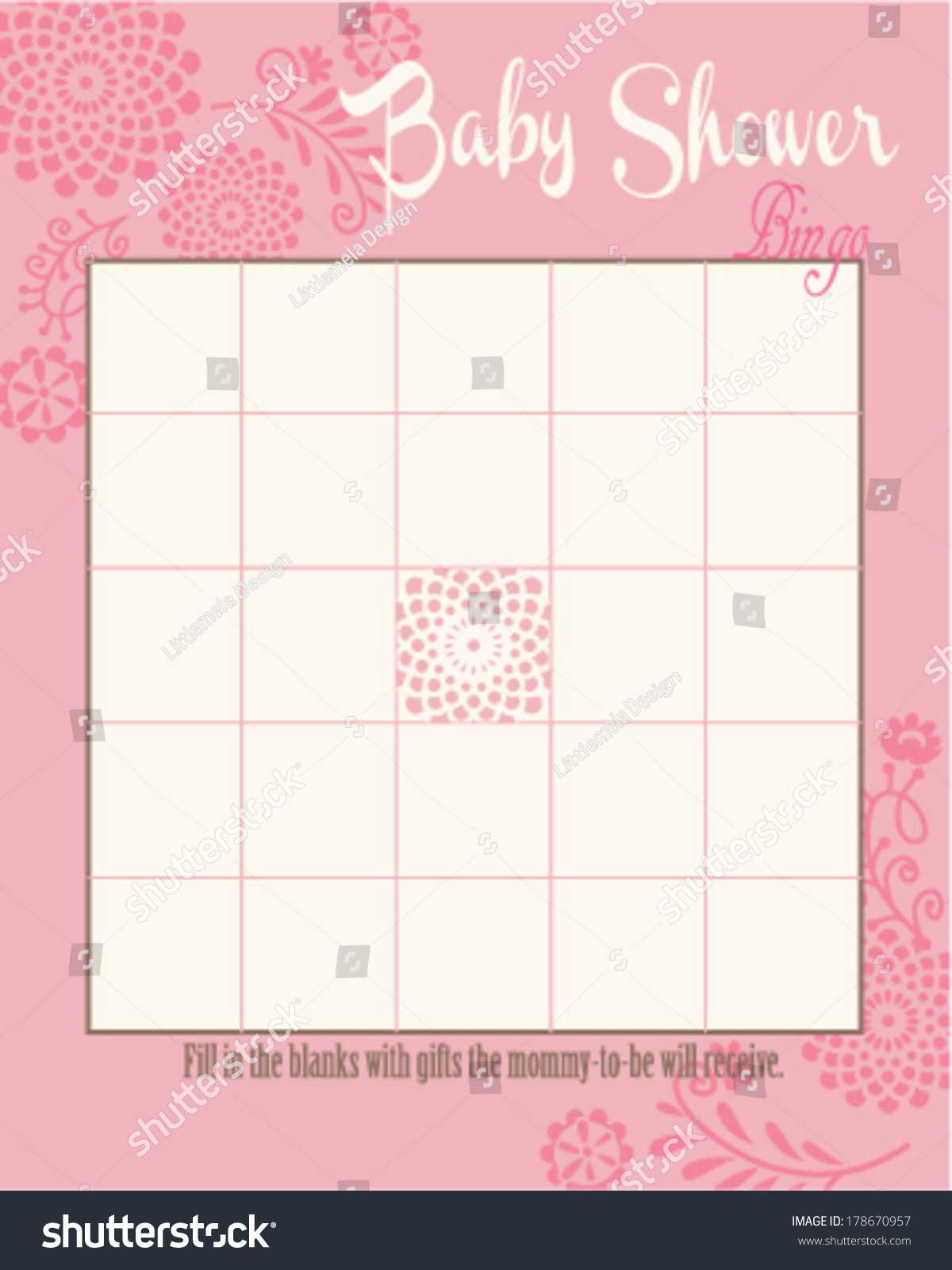 Baby Shower Bingo Game Template Round Stock Vector