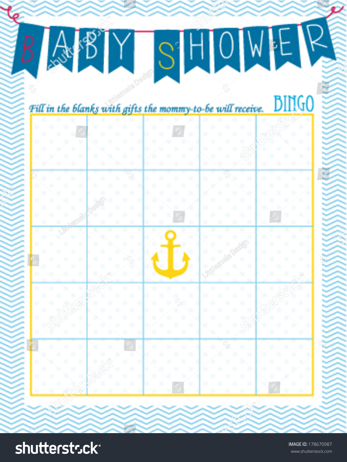 Baby Shower Bingo Game Template Sailor Stock Vector