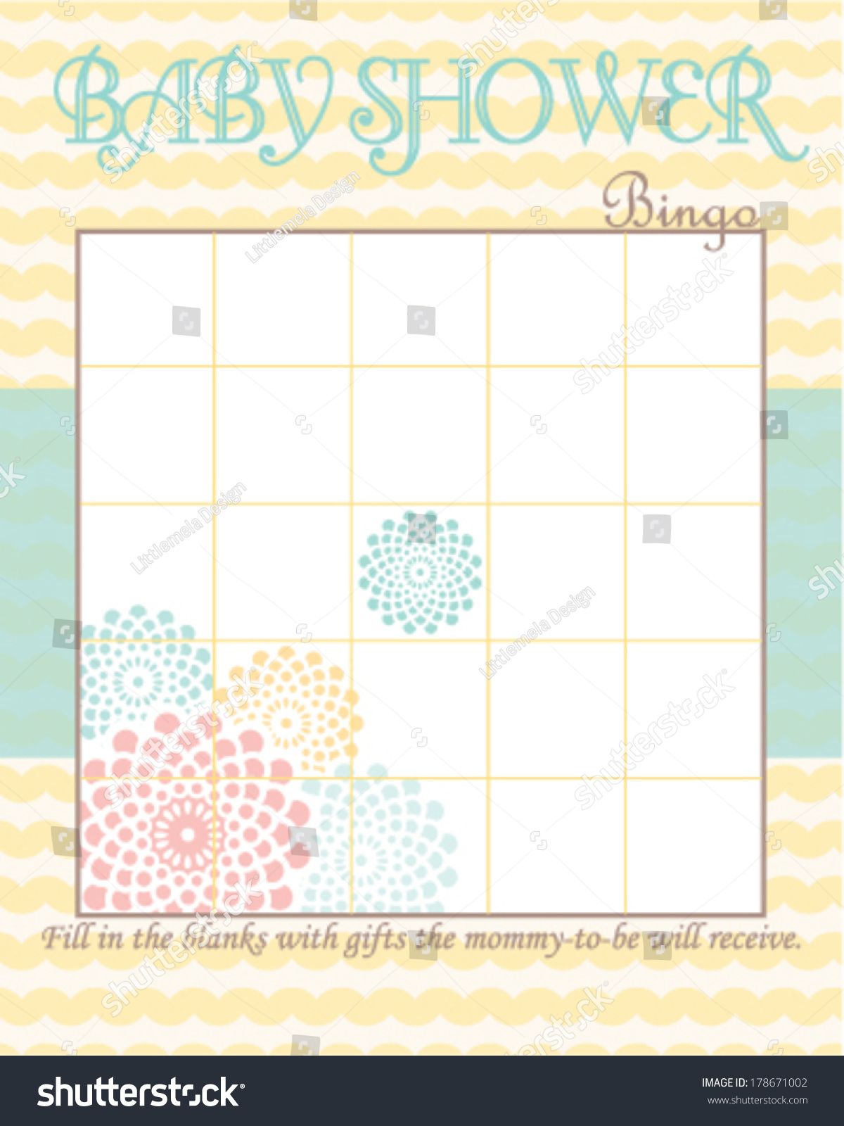 Baby Shower Bingo Game Template Soft Stock Vector