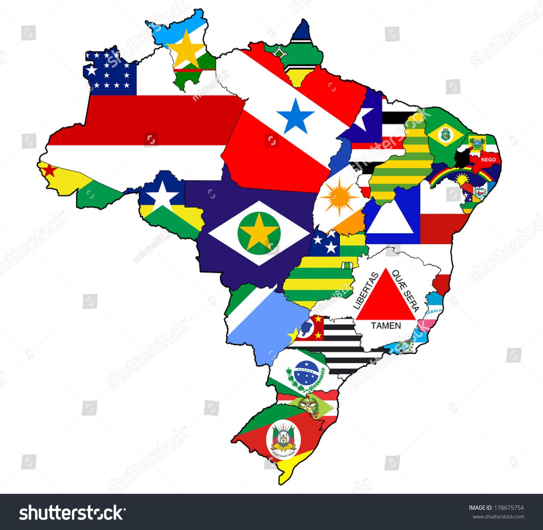 Resultado de imagem para Brazil states flag map