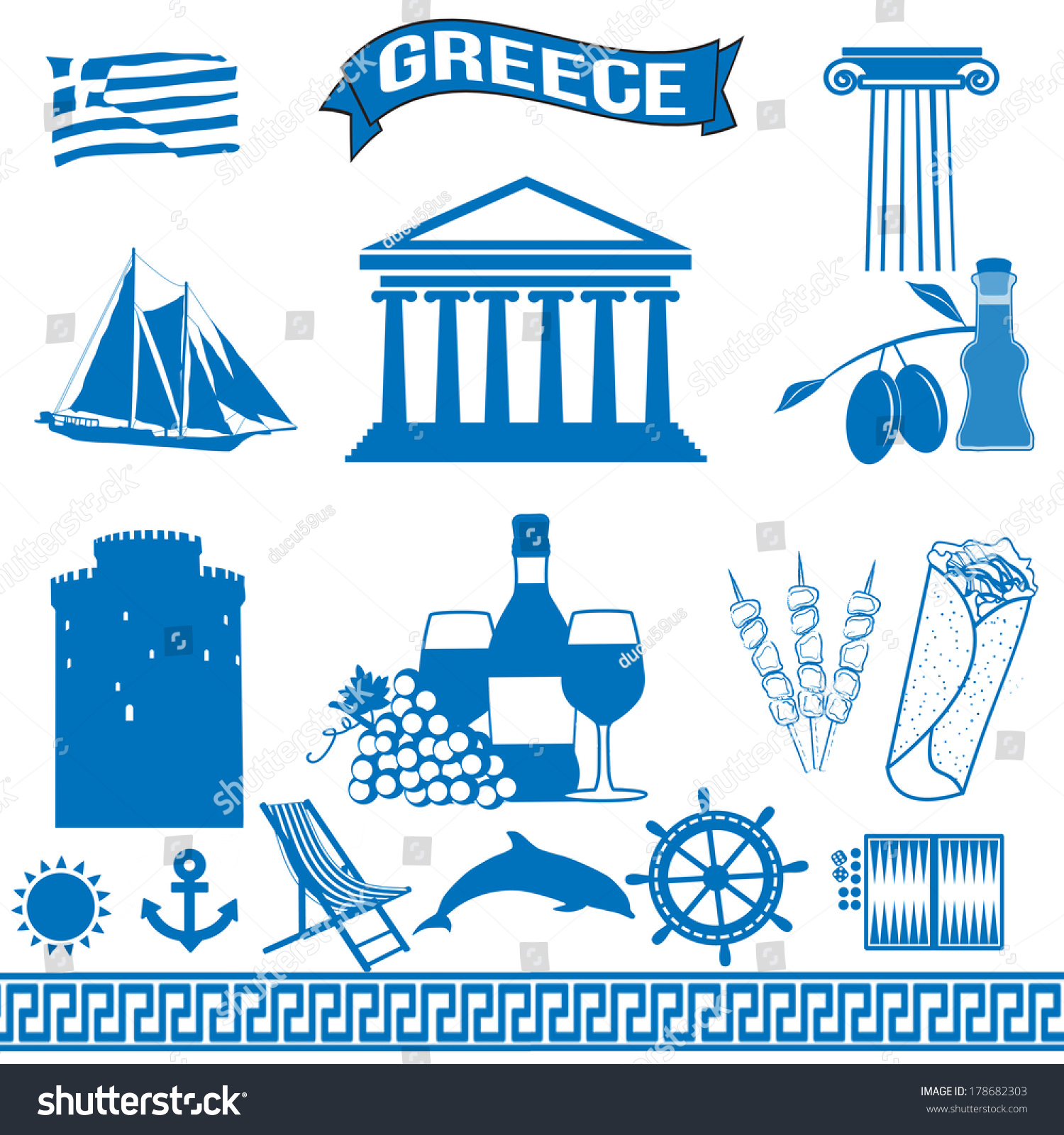 Royalty free greece traditional greek symbols on 178682303 greece traditional greek symbols on white background vector illustration 178682303 buycottarizona