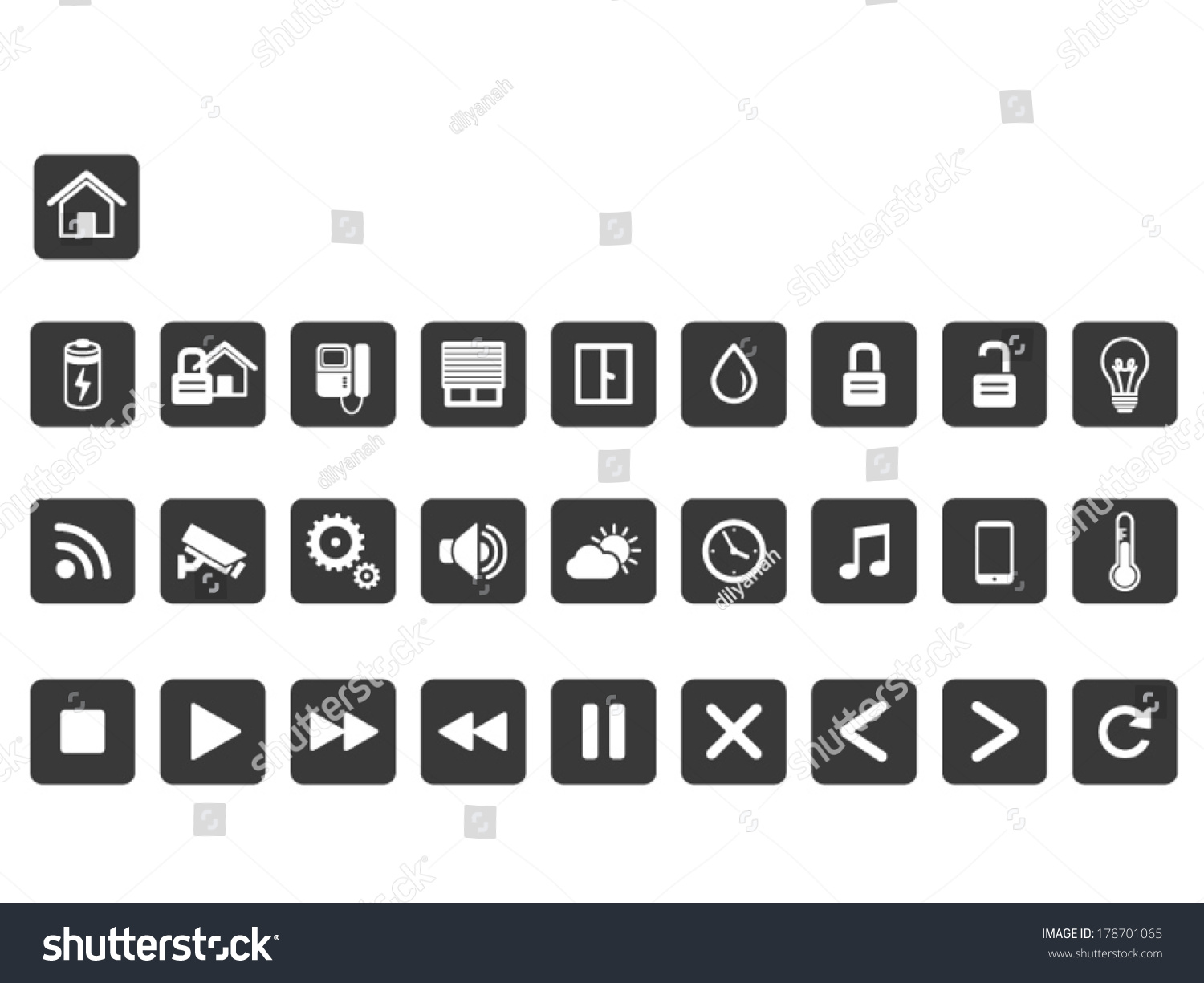 smart home icon set stock vector 178701065 shutterstock. Black Bedroom Furniture Sets. Home Design Ideas