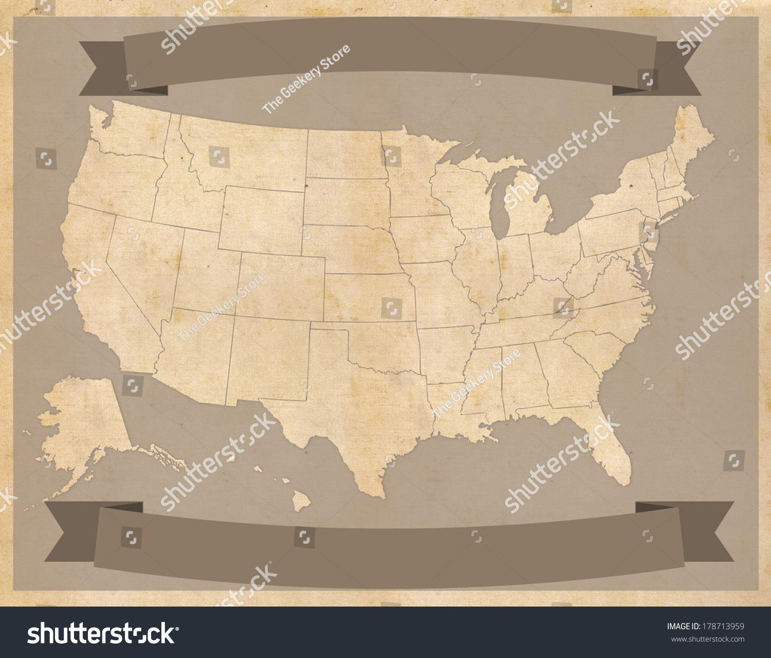 United States Map On Vintage Parchment Stock Illustration - Parchment paper map of us