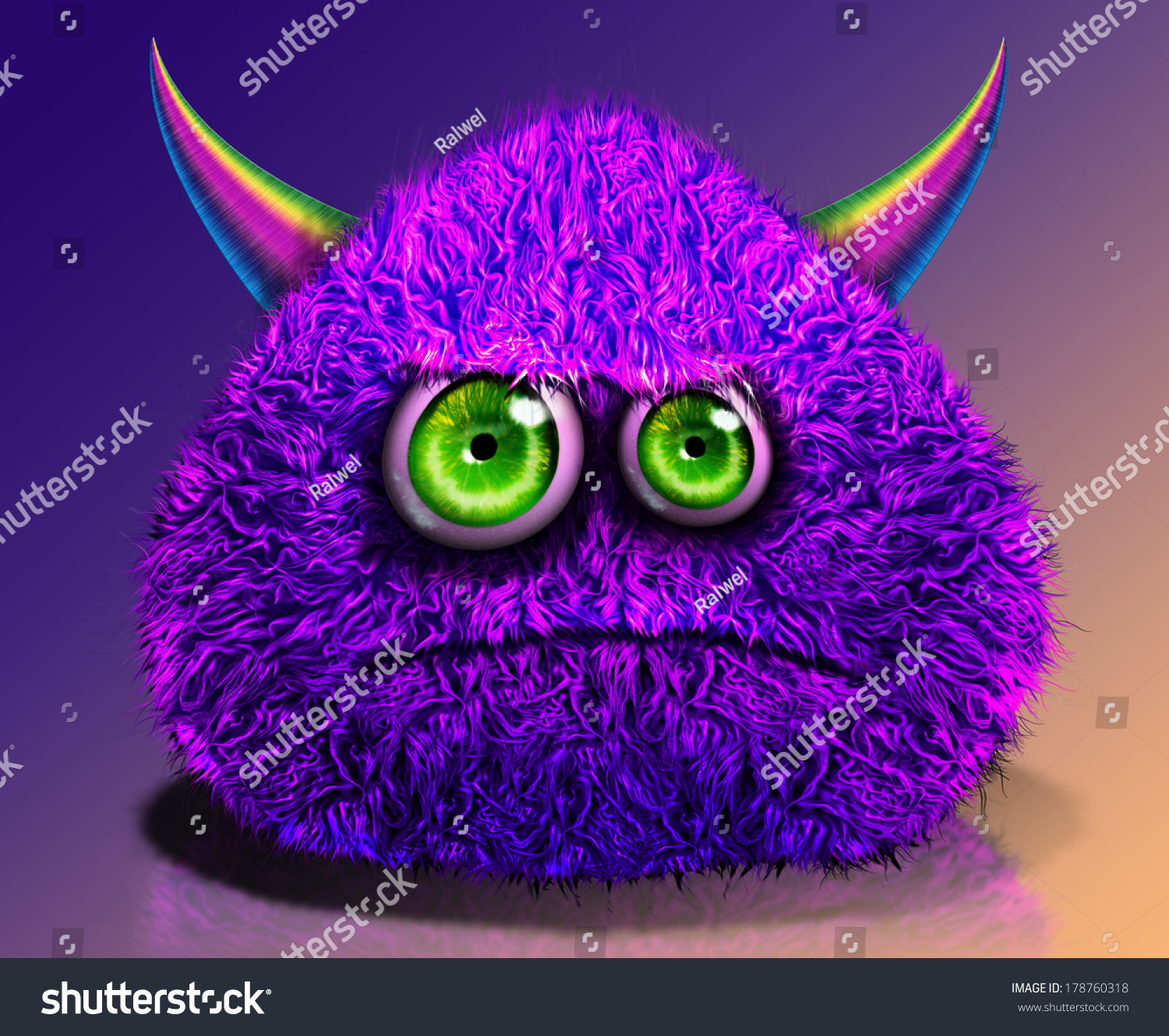 Belly Rumble Furry: Cartoon Furry Monster With Horns Stock Photo 178760318