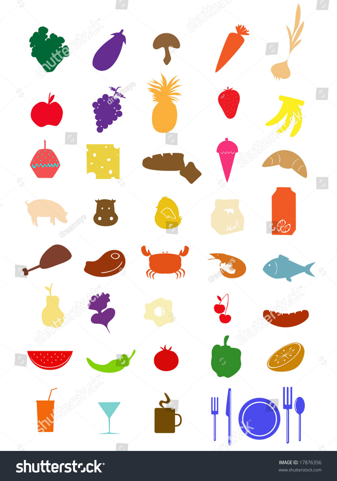 Vector Collection Colorful Food Silhouette Stock Vector 17876356 ...