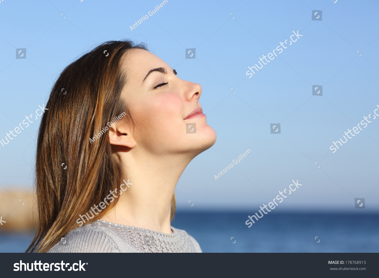 Woman Profile Portrait Breathing Deep Fresh Stock Photo