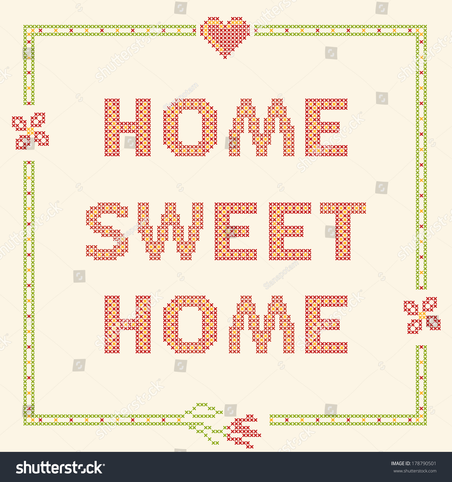 Design elements for home design elements crossstitch embroidery home sweet stock - Home design elements ...