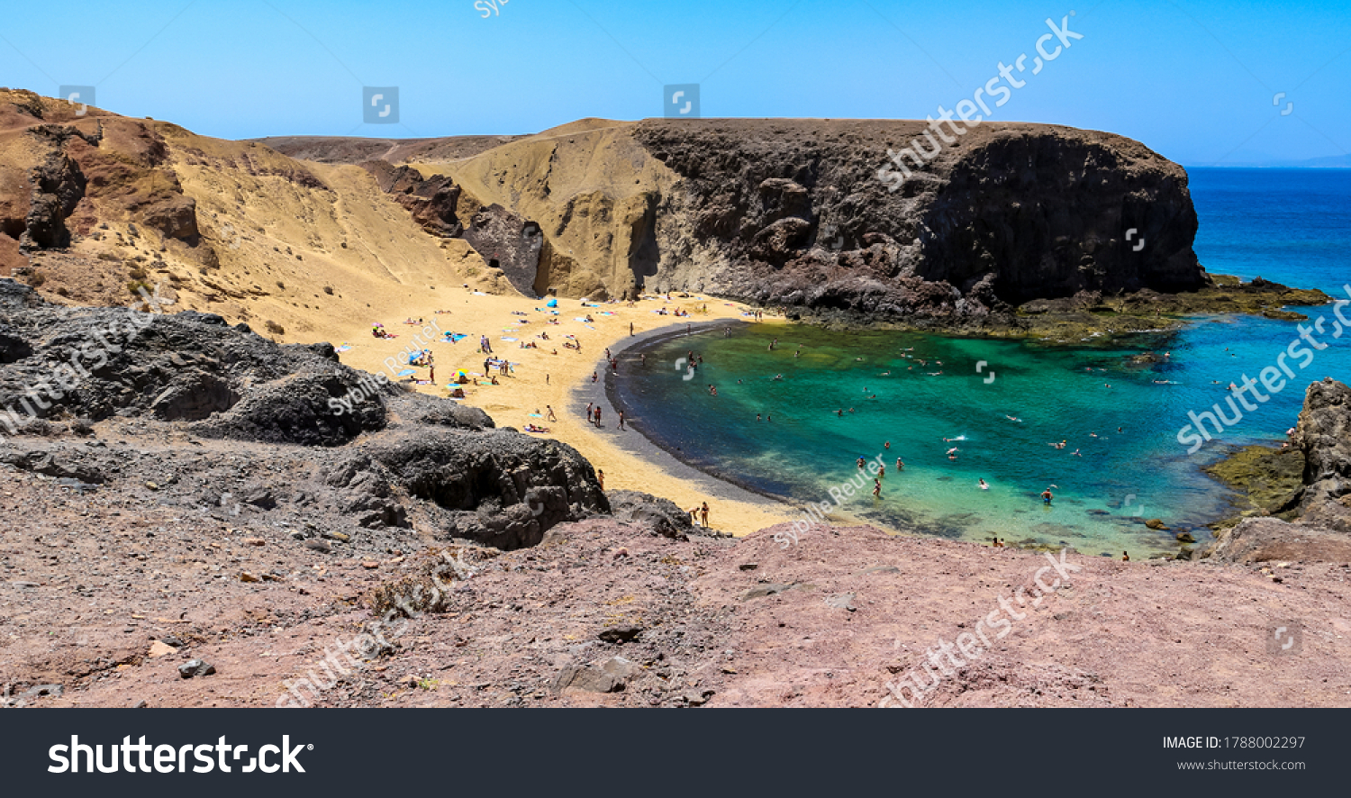 Scenic view of Papagayo Beach and the Atlantic ocean in Costa Blanca, Yaiza, Lanzarote, Canary Islands, Spain.