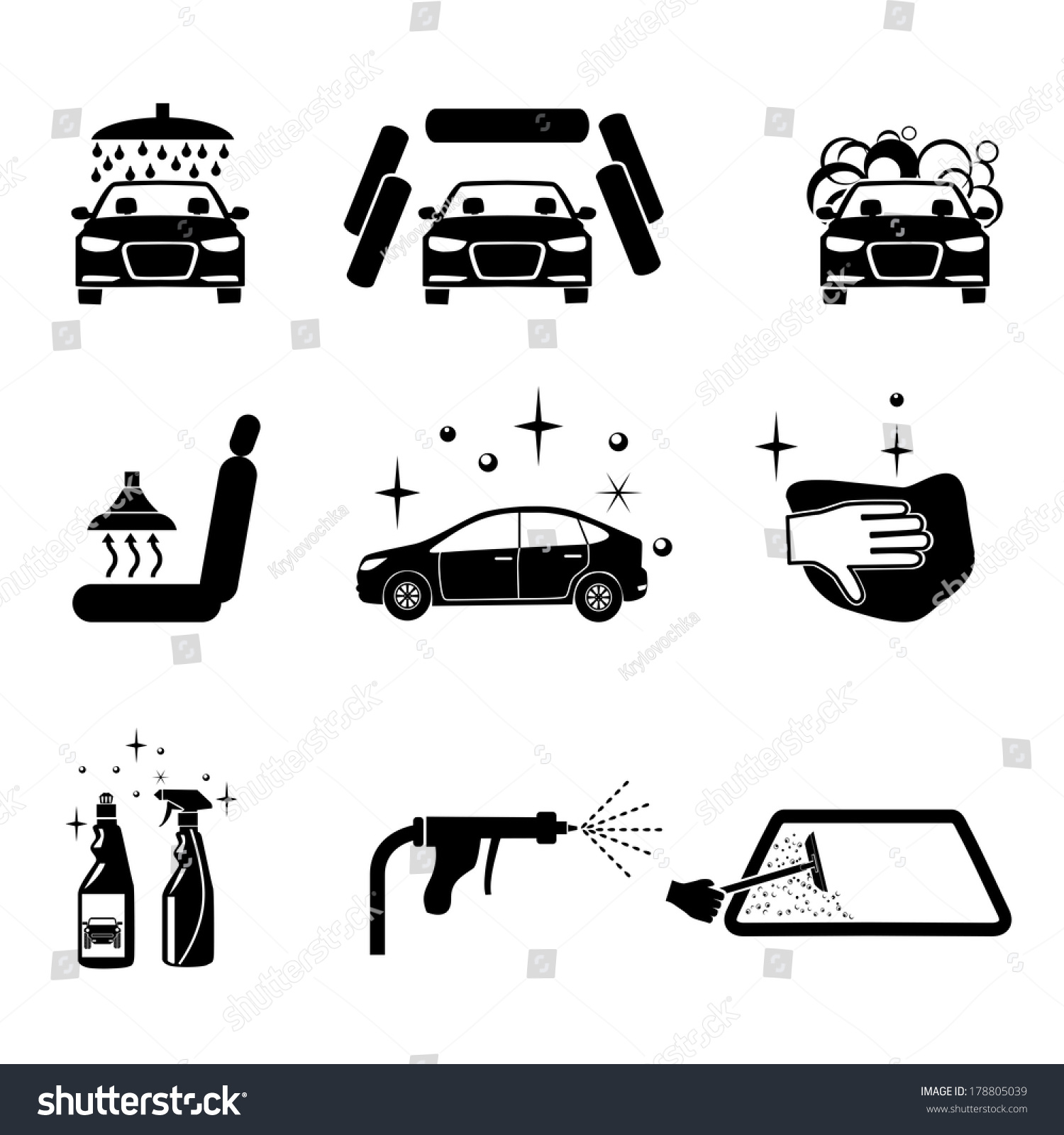 Car Wash Four Variants Car Wash Stock Vector 178805039