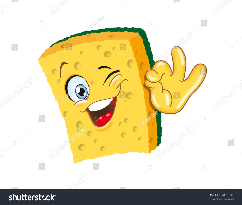 Sponge Cartoon Character Ok Smiling Illustration Funny ...