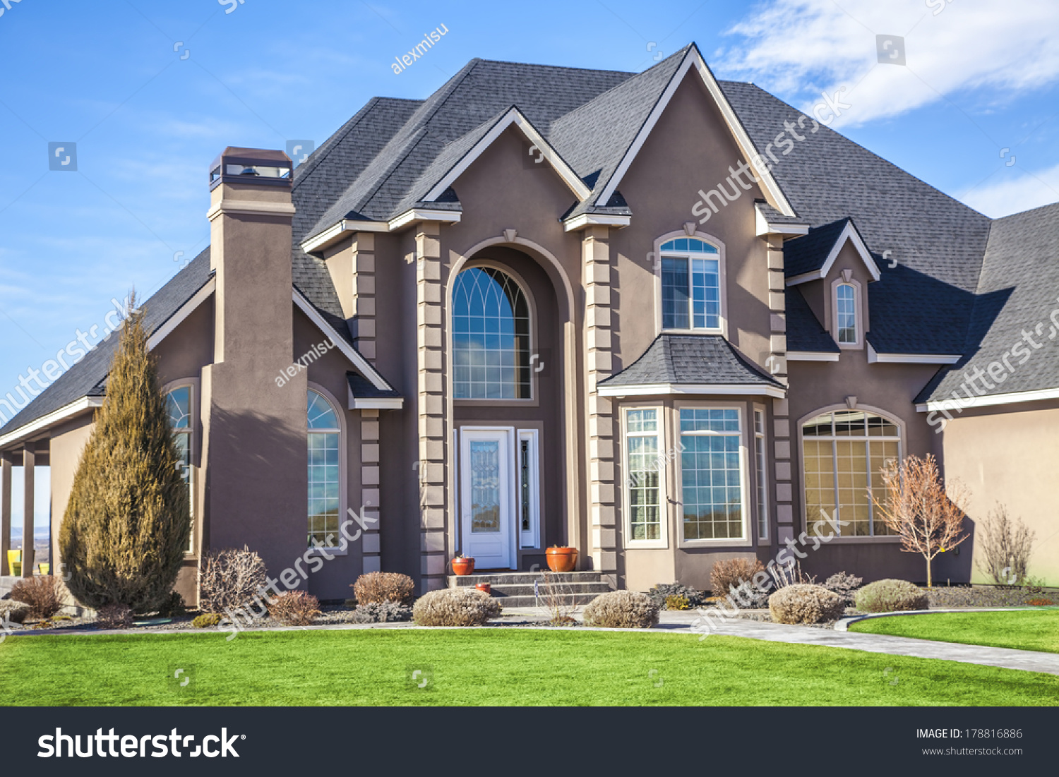 Suburban house on beautiful sunny day stock photo for Suburban house plans