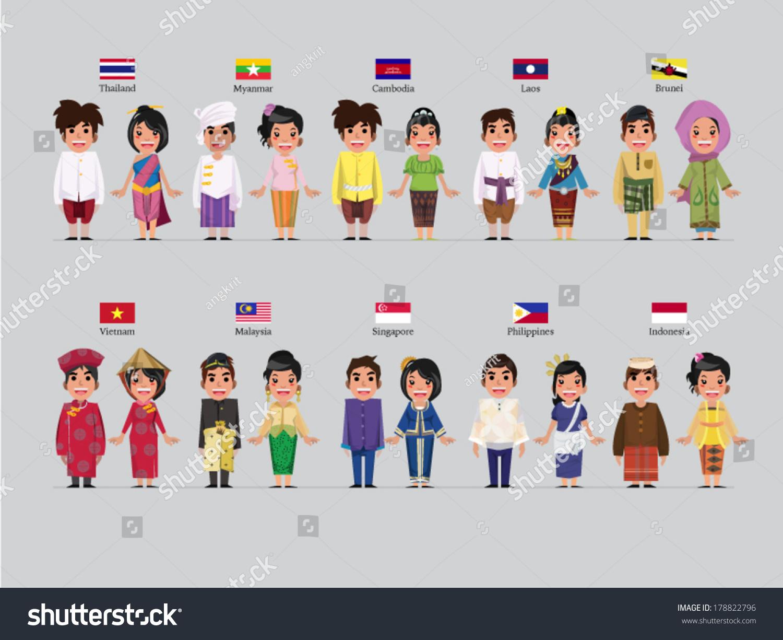 Asean Boys Girls Traditional Costume Flag Stock Vector