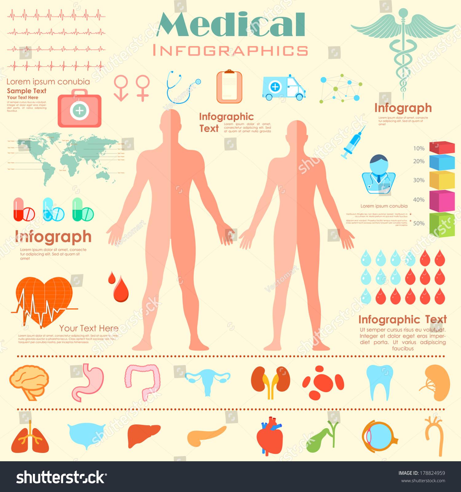 Illustration Healthcare Medical Infographics Male Female Stock