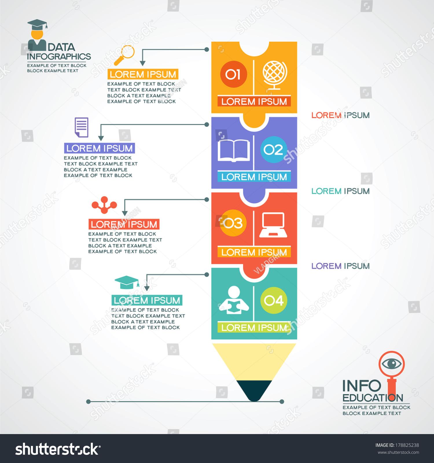 Creative Infographics Template Pencil Puzzle Education
