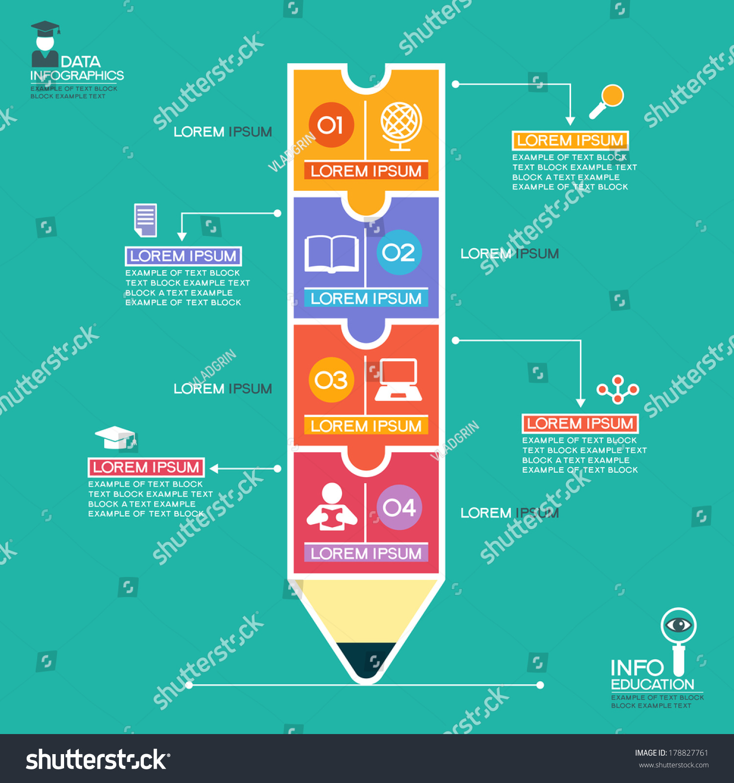 creative infographics template pencil puzzle education stock vector