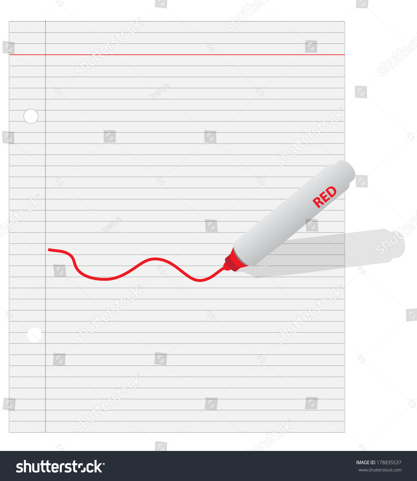 Lined Paper Red Wavy Line Stock Illustration 178835537