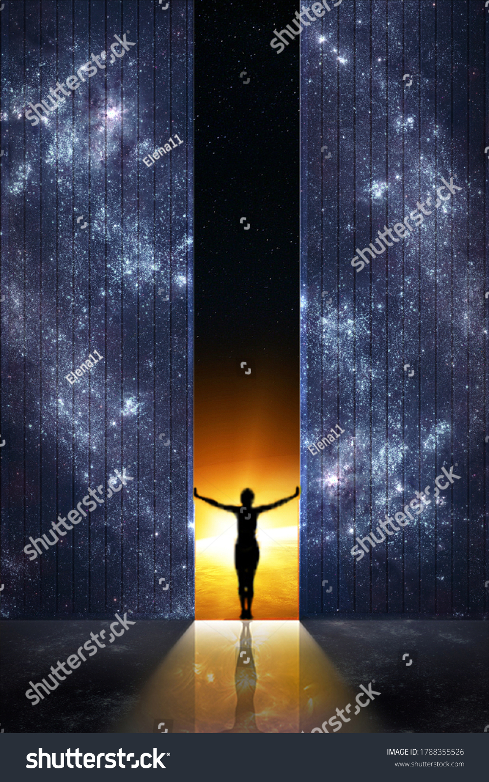 Expand boundaries concept. Woman silhouette opens the gate from starry night room into the sunrise. Elements of this image furnished by NASA. #1788355526
