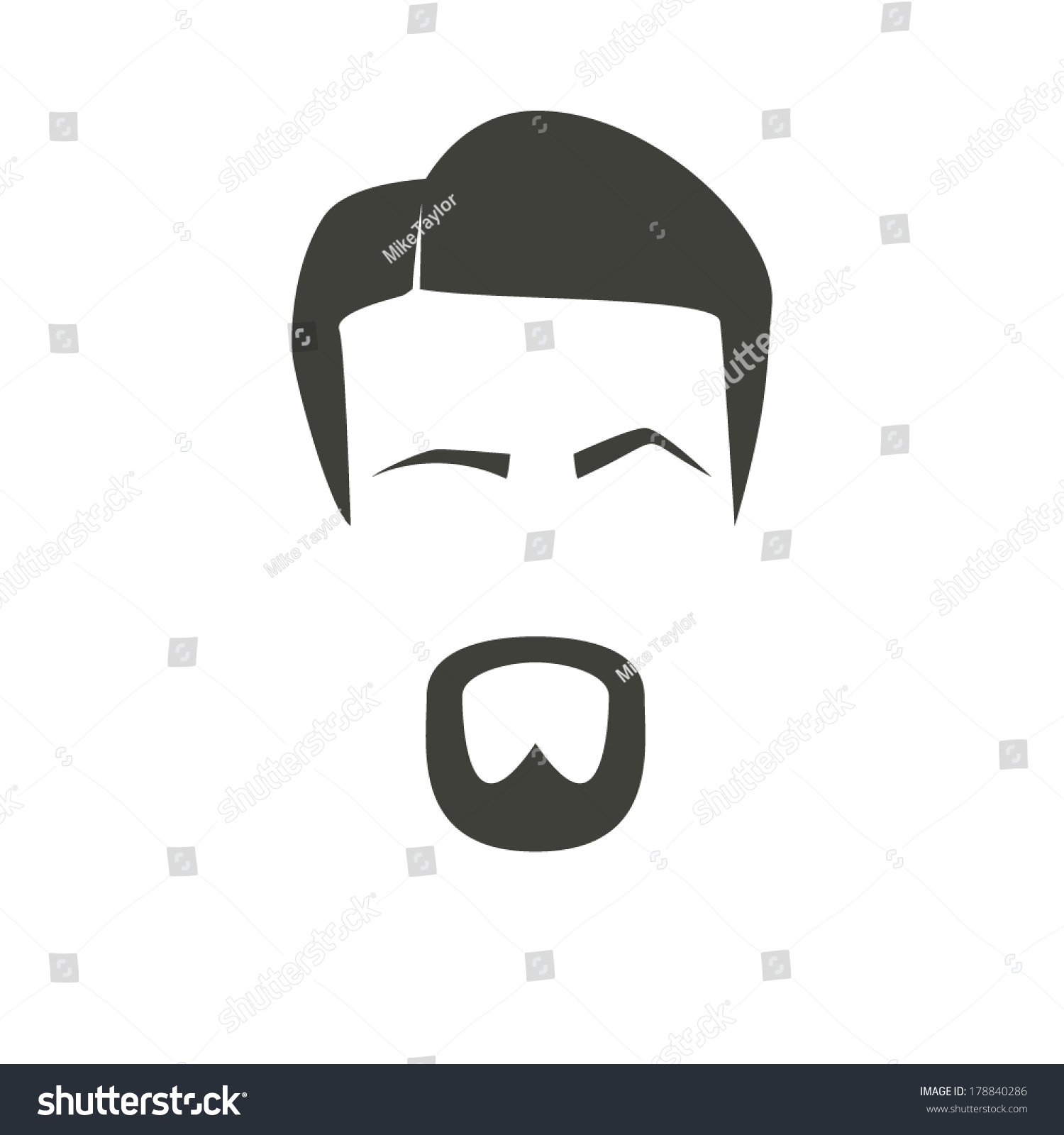 Mans Face Icon Raised Eyebrow Stock Vector Royalty Free 178840286