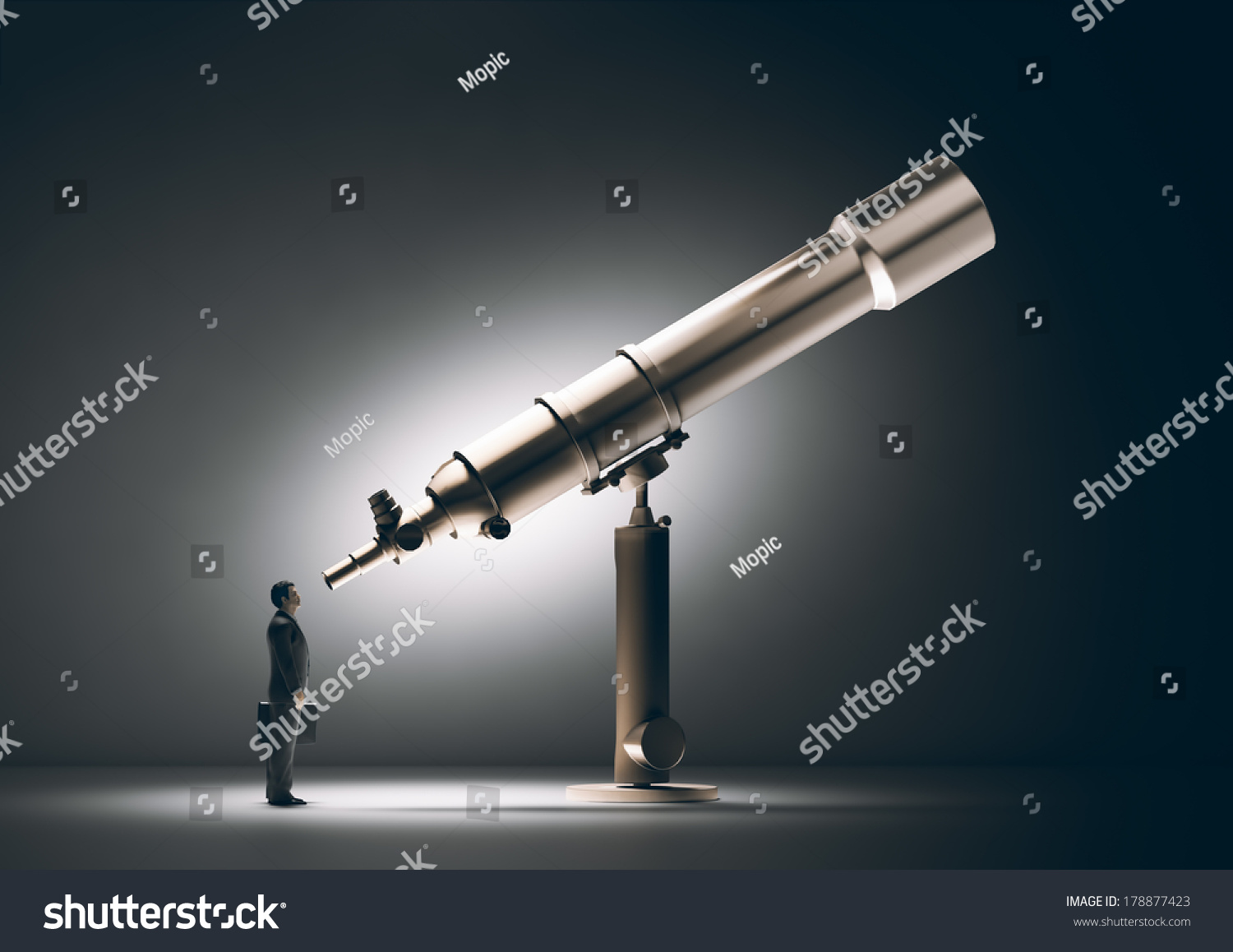 A Businessman Looking Through A Telescope Stock Photo ...