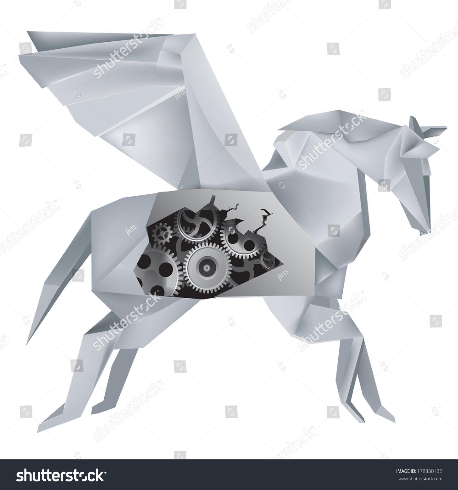 Origami Mechanical Pegasus Imaginary Mechanical Origami Stock Vector