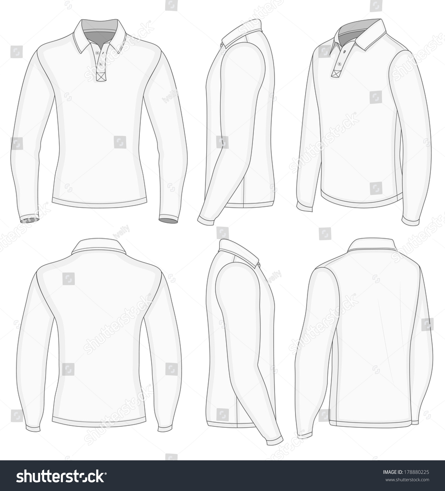 Image Result For Design Size On Front And Back Of Shirts: All Views Men'S White Long Sleeve Shirt Design Templates