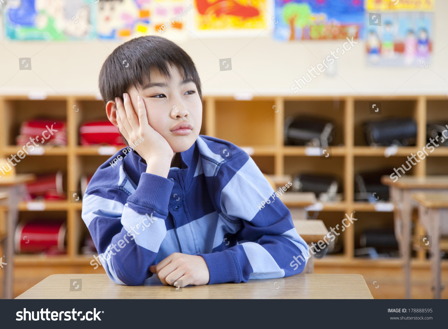 Japanese Elementary Boys Bored Classroom Desk Stock Photo Edit Now 178888595