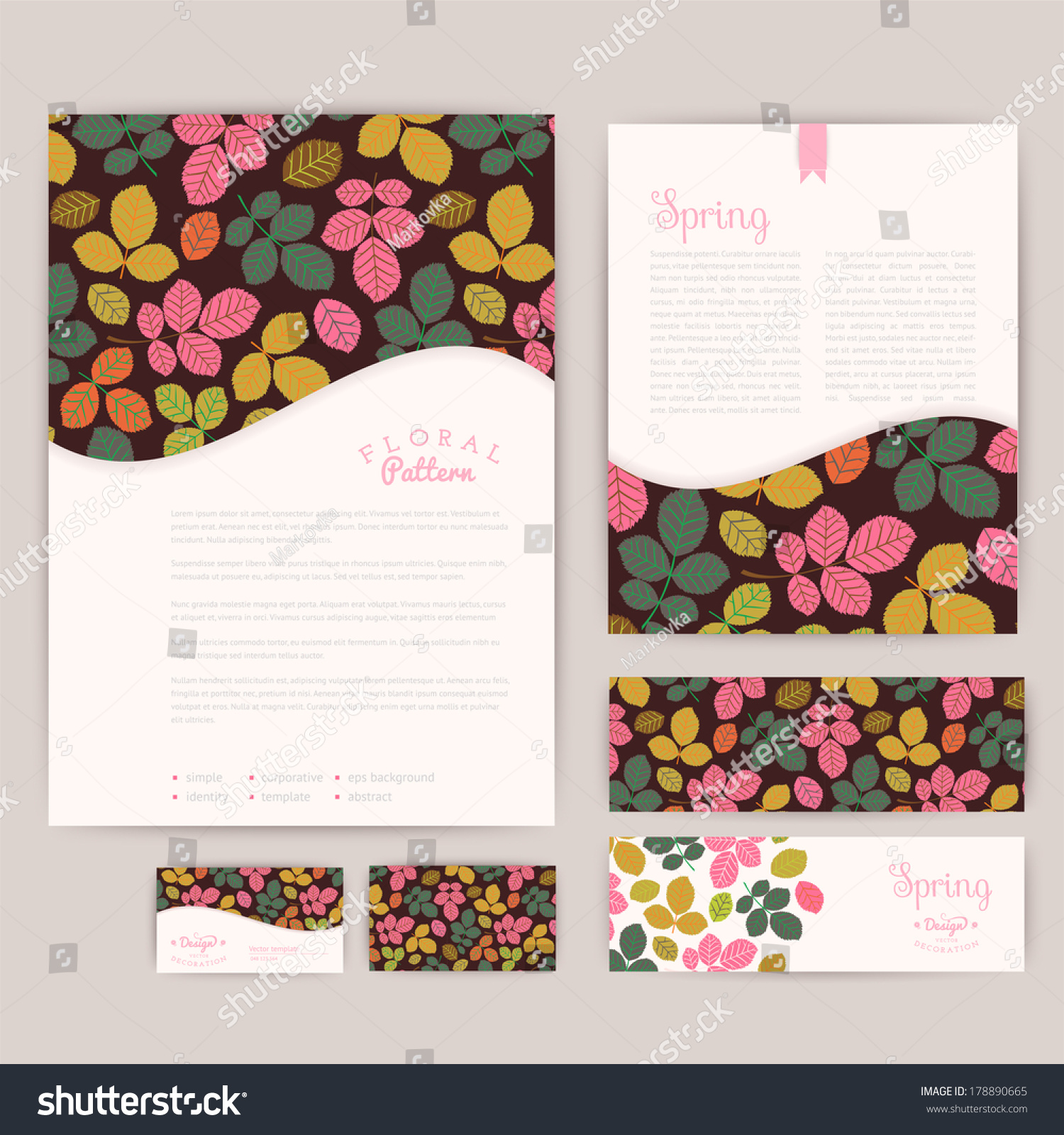 Set Floral Vintage Wedding Cards Invitations Stock Vector 178890665 ...