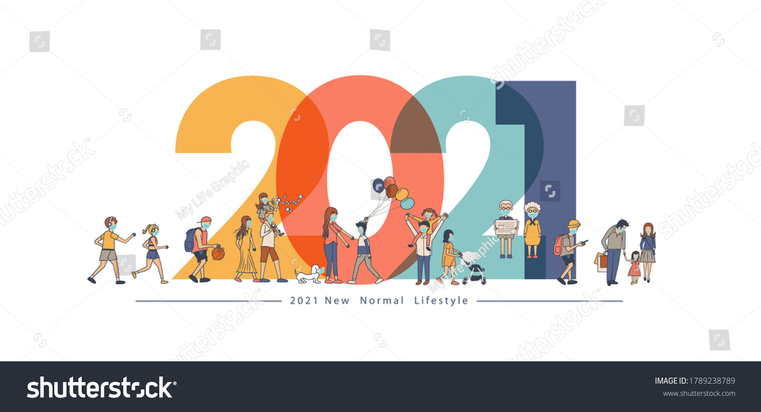 2021 New year with New normal lifestyle ideas concept. People wearing mask in flat big letters design. Vector illustration modern layout template #1789238789