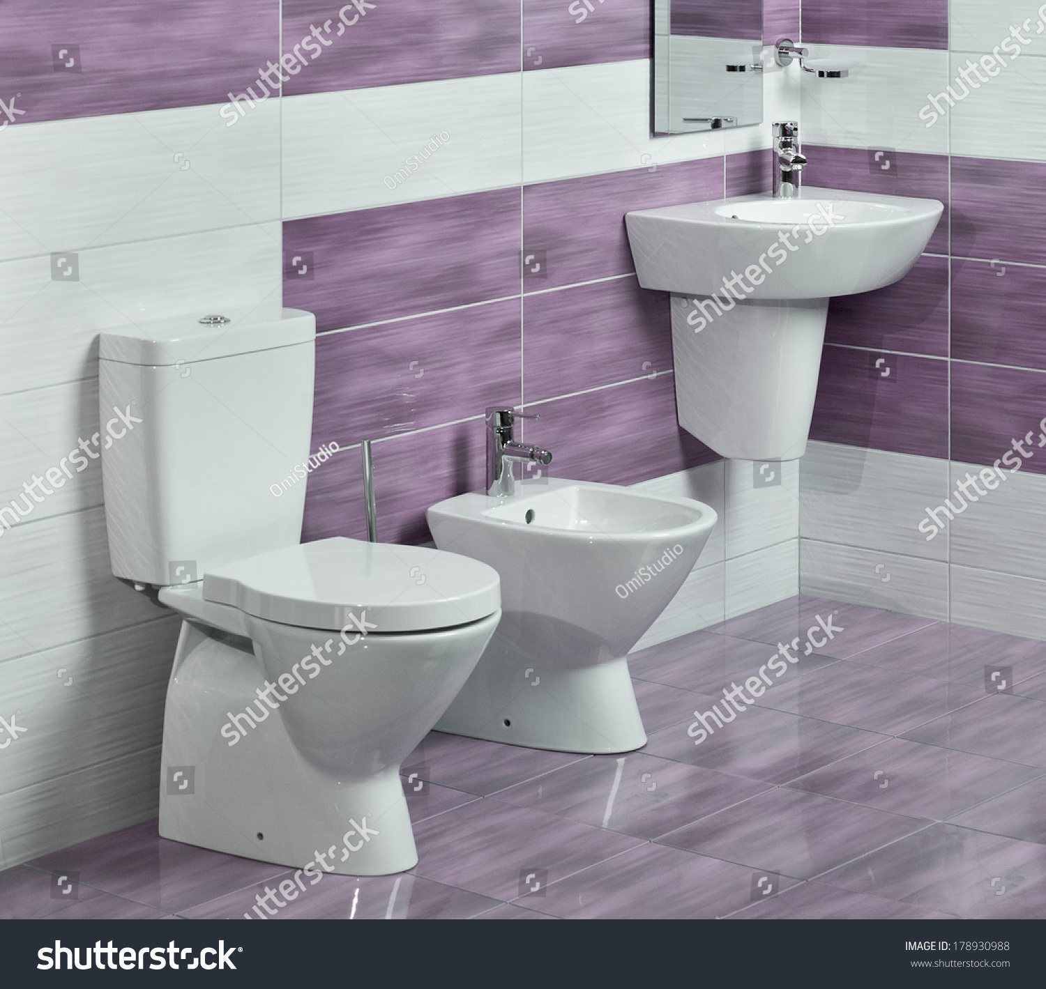 Detail Of Modern Bathroom With Sink, Toilet And Bidet, With Purple And White Tiles And Miror
