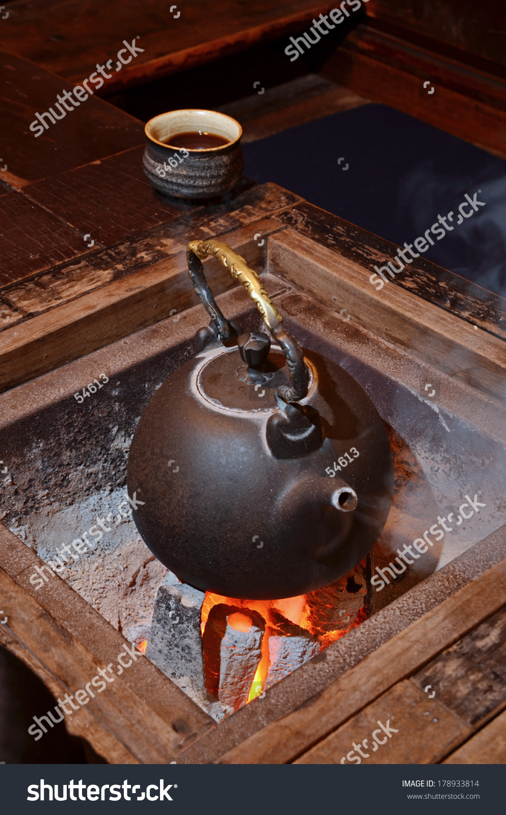 old kettle put on fireplace stock photo 178933814 shutterstock