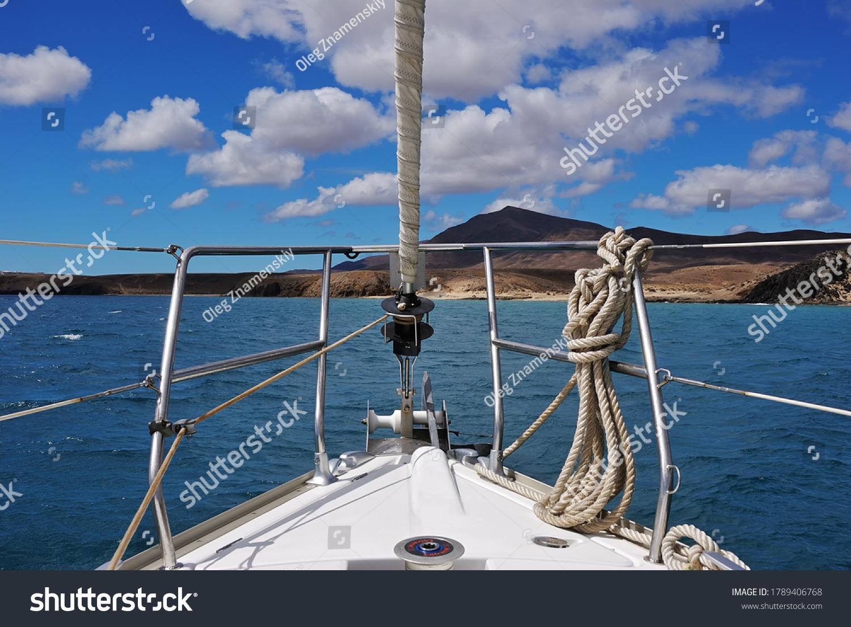 A sailing boat in the atlantic ocean. Lanzarote, Spain.  Canary Islands Archipelago  #1789406768