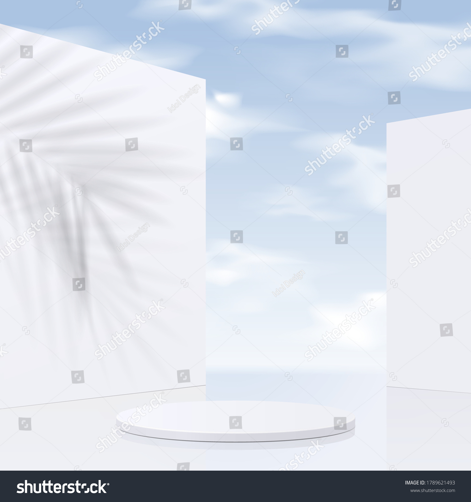 Cylinder white podium mockup with sky background and shadow leaves. product presentation, mock up, scene to show cosmetic product, Podium, stage, pedestal or platform. simple clean design, 3d vector #1789621493