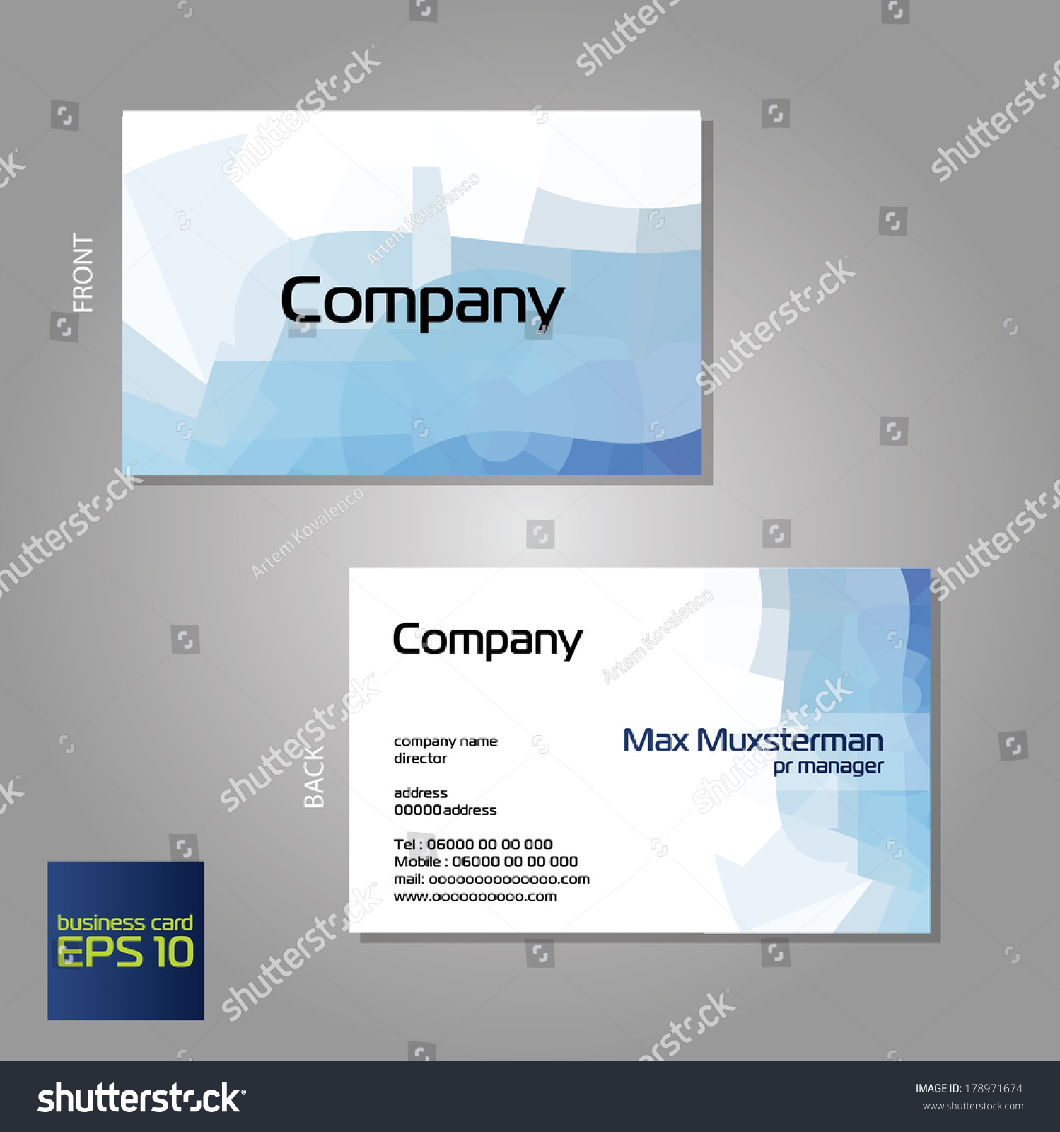 vector branded business cards template printing stock vector