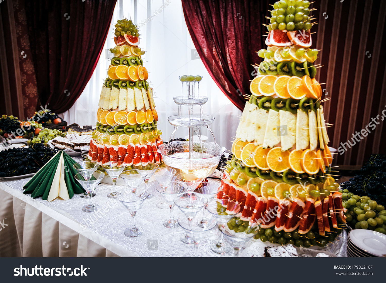 Champagne Fountain Decorations Fruit On Table Stock Photo Royalty