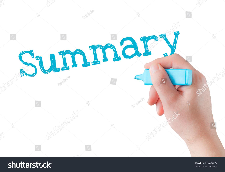 Hand Writing Summary Blue Marker On Stock Photo               Shutterstock